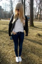 black Orsay jacket - navy H&M jeans - white reserved sweater - teal Parfois bag