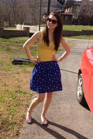 blue Francescas Collections skirt - yellow tank Target shirt - Target sunglasses