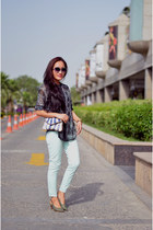 bandana print shirt - flag American Swan bag - sunglasses - pants