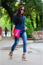hot pink Koovs bag - denim shirt American Apparel shirt - nude Forever21 heels