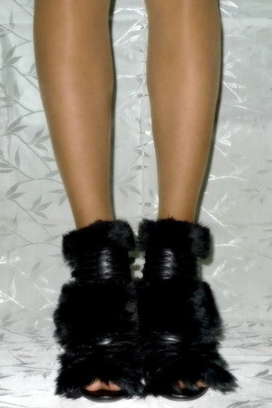 black fur shield heels