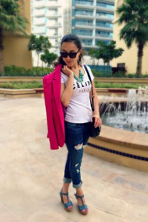 hot pink Zara blazer - Guess jeans - white Celine shirt - black YSL bag