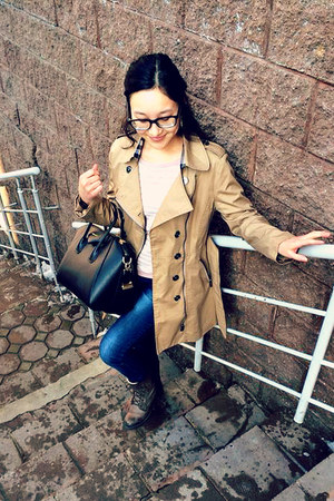 vintage boots - Burberry coat - J Brand jeans - striped Mango shirt