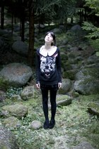 black dress - black Zara sweater - black tights - black overknees socks