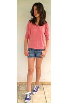 navy coach shoes - bubble gum American Eagle shirt - blue JCP shorts