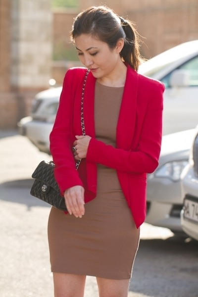 red Rebecca Minkoff blazer - camel aliceolivia dress - black Chanel bag
