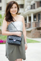 dark khaki aliceolivia dress - black Chanel bag