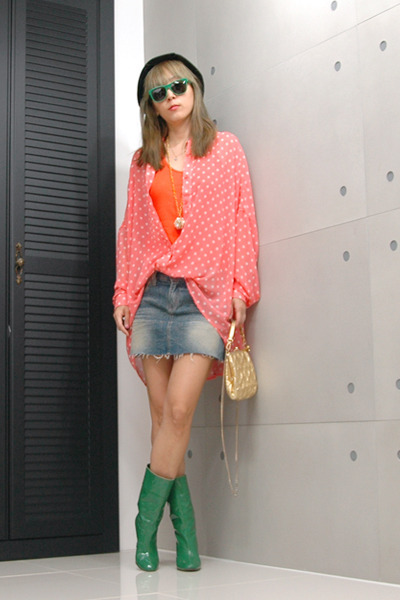dark green boots - carrot orange blouse