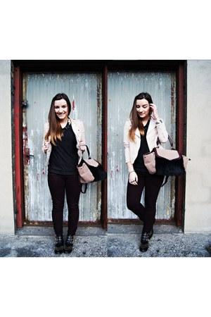 beige Parfois bag - black CzasNaButy boots - black Zara blouse