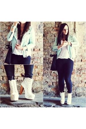 light blue Zara jacket - white CzasNaButy boots - black etorba bag