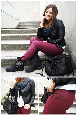 black OASAP jacket - black Zara bag - brick red H&amp;M panties