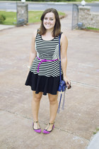 black striped peplum Forever 21 shirt - magenta woven belt H&M belt