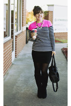 hot pink neon stripe Gap sweater