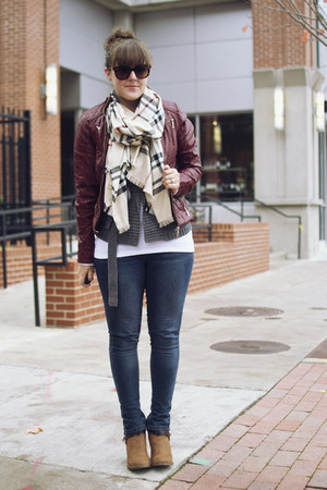 beige plaid TJ Maxx scarf - tawny booties suede JustFab boots