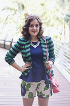 green stripes The Limited blazer - navy peplum Forever 21 shirt