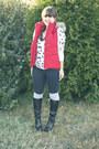 Black-wedge-justfab-boots-red-fur-hood-banana-republic-vest