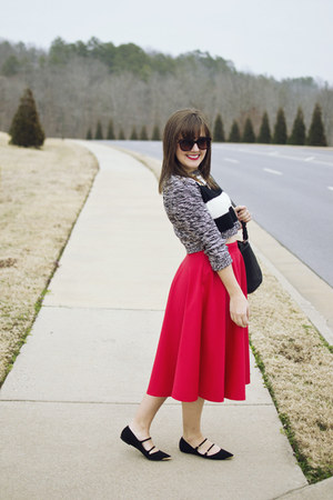 red asos skirt - black cropped Express sweater