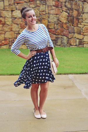 blue stripe StyleMint shirt - navy Forever21 skirt