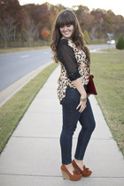 brown leopard sheer Forever 21 blouse