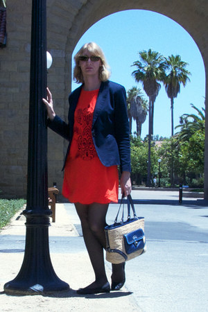 navy blazer - orange dress - navy coach bag - black JCrew flats
