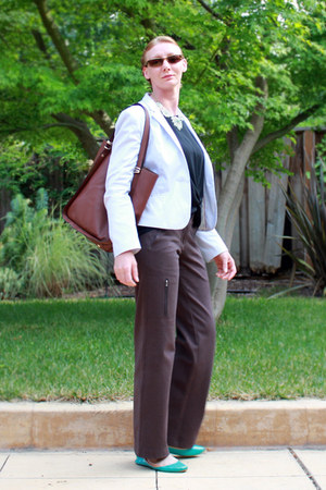brown purse - white H&M blazer - brown Title Nine pants - aquamarine JCrew flats
