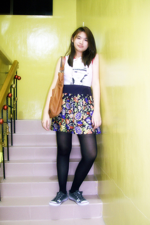 white Mango shirt - black Mango skirt - black Marks and Spencers tights - gray j