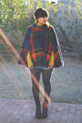 Grey-blowfish-boots-mustard-tres-sweater-plaid-vintage-cape