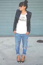 faux leather Blank Denim jacket - boyfriend PacSun jeans
