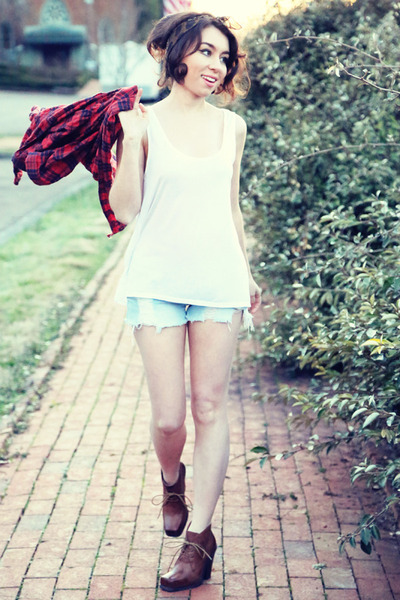 brick red plaid Koshka shirt - boyfriend tank Guess top