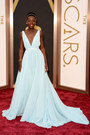 Light-blue-flowing-deep-v-prada-dress