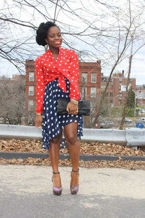 polka dot H&amp;M blouse - Very shoes - asymmetrical Forever 21 skirt