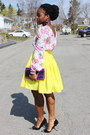 Floral-asos-top-neon-yellow-self-made-skirt-cap-toe-bebe-heels