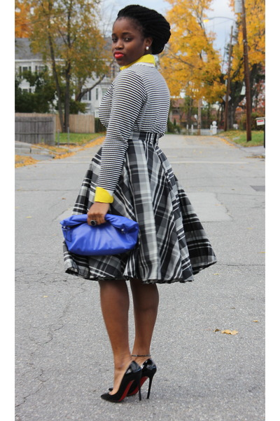 plaid self-made skirt - stripe Forever 21 sweater