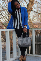blue Forever 21 blazer - striped Forever 21 shirt