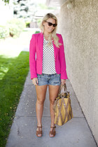 hot pink Zara blazer - white American Eagle shorts - black Zara t-shirt