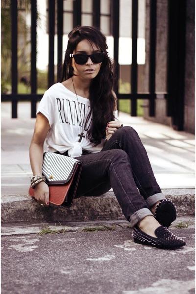black metallic romwe shoes - ruby red terminal d bag - black Simon&me sunglasses