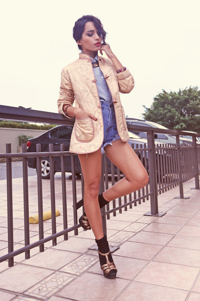 Vintage Shop jacket - denim shorts Sheinside jeans - H&M shirt