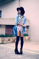 Forever 21 hat - 2020AVE shorts - Forever 21 socks - blackfive heels