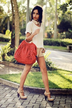 red Zara bag - eggshell Scaramuggio shirt - tan Zara shorts