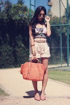 Chicwish bag - Zara shorts - Madlady accessories - Brechicaf top