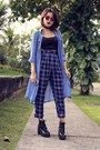 long blouse abaday blouse - plaid abaday pants - Schutz glasses