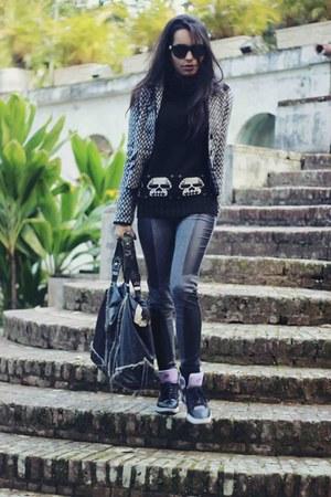black Renner sweater - black Aquamar leggings - black Dress to blazer