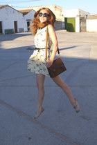 light yellow Zara dress - beige Zara shoes - brown Stradivarius bag