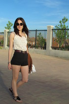 beige vintage blouse - black Lefties shorts - black Marypaz sandals