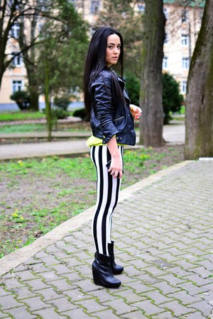 black Zara boots - black Zara jacket - white c&amp;a leggings