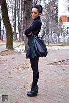 teal Zara skirt - black Zara boots - black Zara bag - black Zara blouse