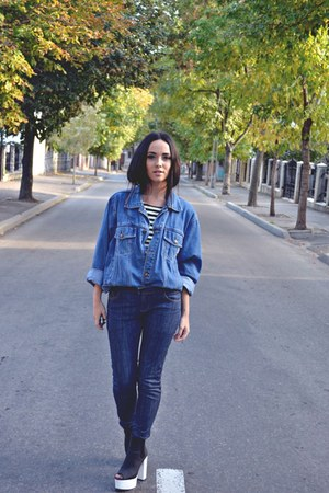black H&M boots - navy no brand jeans - sky blue vintage jacket - white H&M top