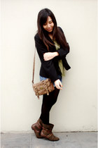BLANCO bag - Marypaz boots - Basement blazer - no brand tights