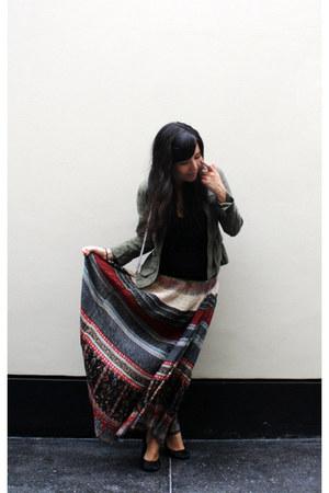 H&M jacket - Marquis shirt - vintage skirt - H&M flats