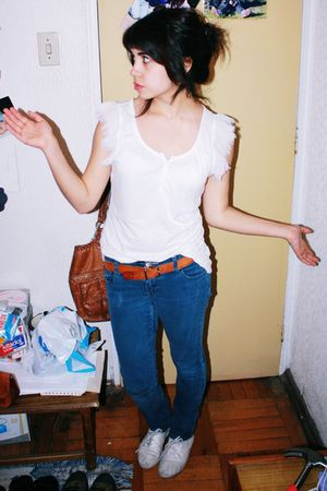 white Gap shirt - blue Fire jeans - white Keds shoes